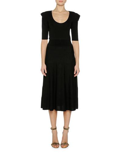 Fine Wool Ruffle-Shoulder Midi Dress, Black