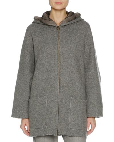 Zip-Front Mink Fur-Lined Hoodie, Multi