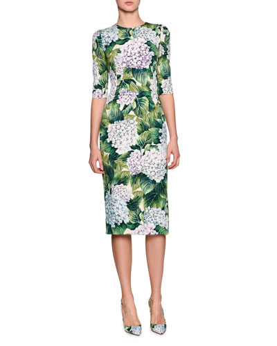 Hydrangea-Print Elbow-Sleeve Dress, Green Pattern