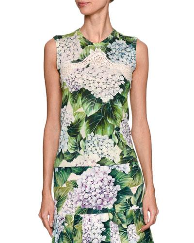Sleeveless Hydrangea-Print Shell, Green Pattern