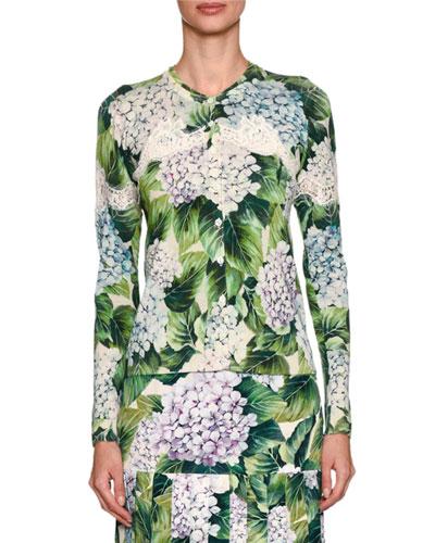 Hydrangea-Print Cardigan, Green Pattern