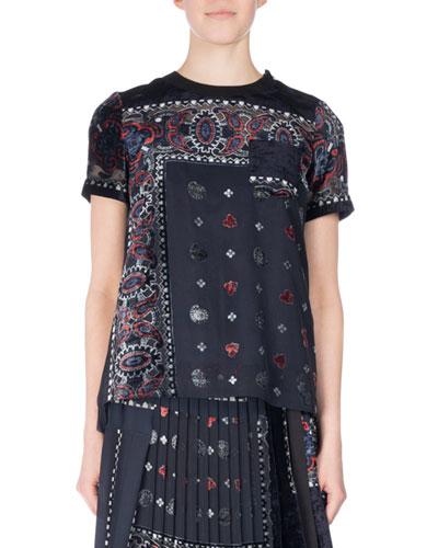 Short-Sleeve Bandana-Print Velvet Top, Navy