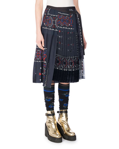 Pleated Bandana Patchwork Wrap Skirt, Navy