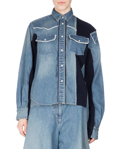 Long-Sleeve Patchwork Denim Shirt, Blue