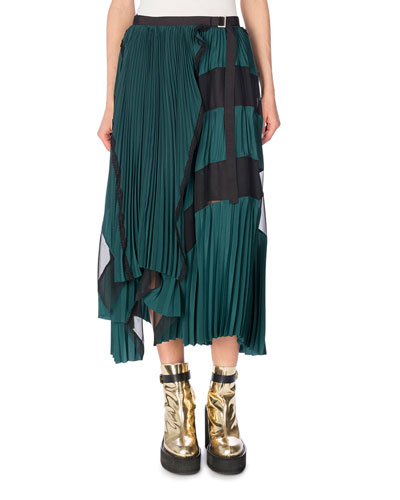 Pleated Two-Tone Midi Skirt, Green