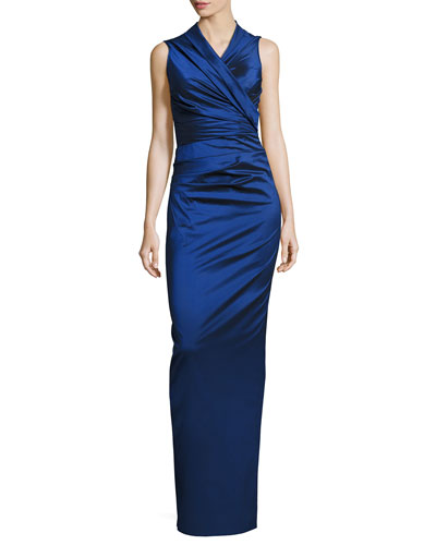 Nocky Stretch-Taffeta Column Gown, Blue