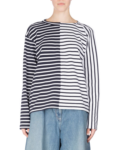 Dixie Striped Tie-Back Top, White Pattern