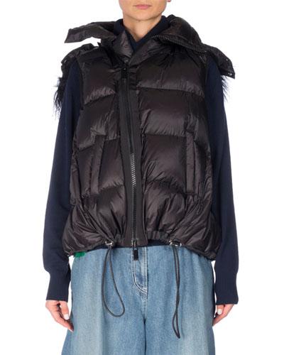 Fur-Trim Down Puffer Vest, Black