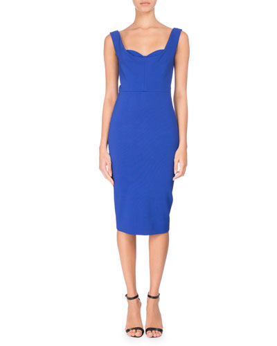 Sleeveless Bustier Sheath Dress, Blue
