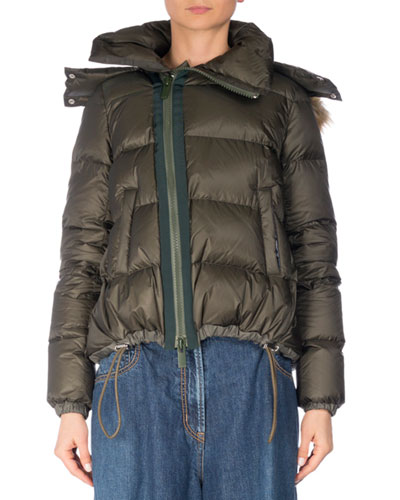Quilted Puffer Coat w/Faux-Fur Trim, Khaki