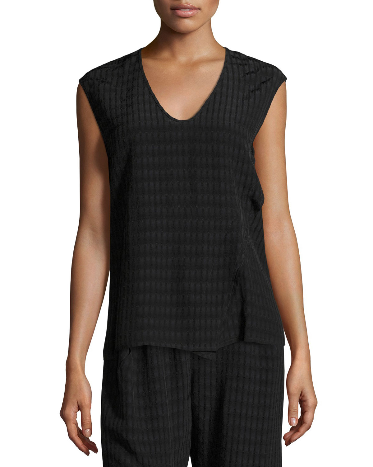Twisted Plaid Batik Top, Black