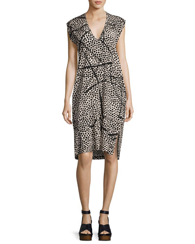 Cap-Sleeve Dot-Print Silk Dress, Multi