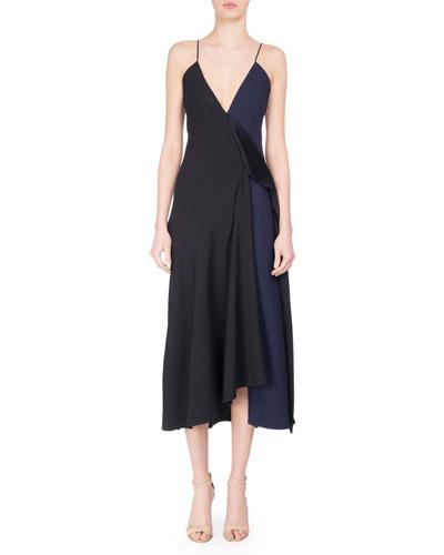 V-Neck Two-Tone Bias-Cut Midi Dress, Black/Blue