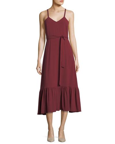 Sleeveless Crepe Midi Dress