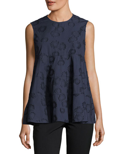 Sleeveless Floral-Embroidered Swing Top