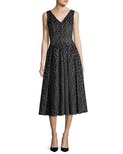 Sleeveless Velvet Floral Dress