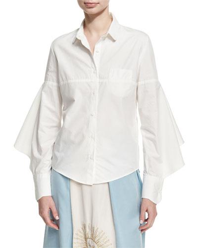 Puff-Sleeve Poplin Blouse, White