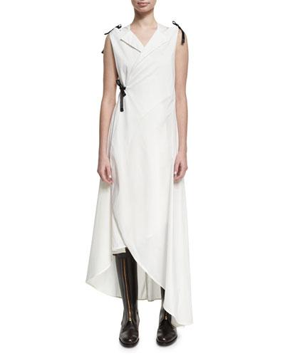 Sleeveless Cotton Tuxedo Midi Dress, White