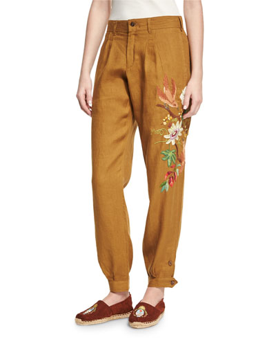 Embroidered Linen Carpenter Pants, Mustard