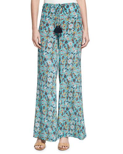 Estela Paisley-Print Silk Pants, Multi