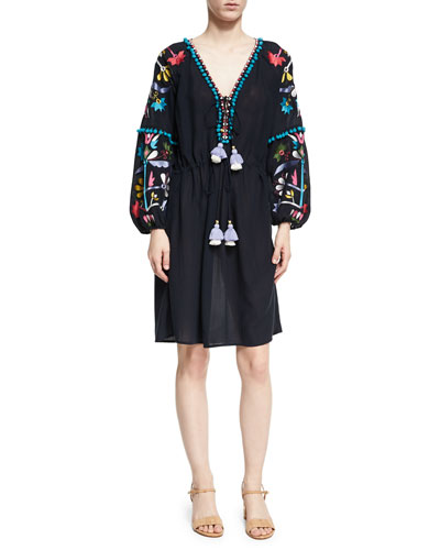 Victoria Embroidered Peasant Dress, Navy