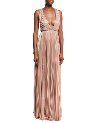 Metallic Pleated V-Neck Gown, Pink Metallic