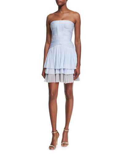 Strapless Pleated Tulle Cocktail Dress, Blue