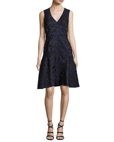 Sleeveless Fil Coupe Dress, Blue