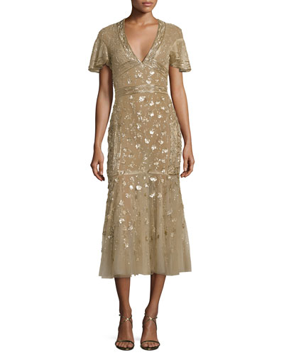 Floral-Embroidered Tulle Midi Dress, Gold
