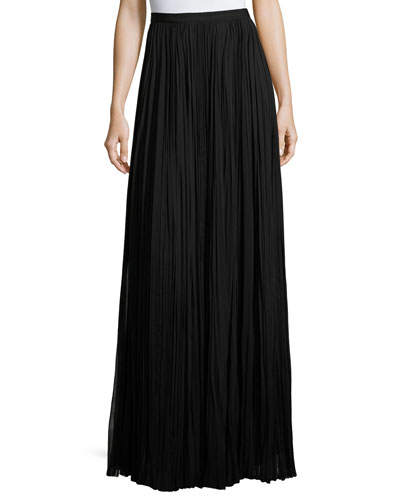 Classic Pleated Silk Maxi Skirt, Black