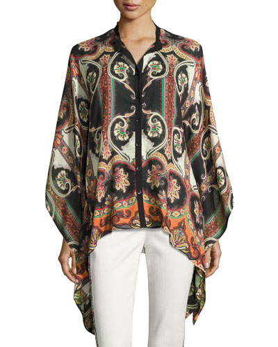 Paisley-Print Silk Cape Blouse, Black/Multi