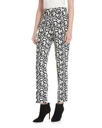 Puzzle-Print Slim-Straight Pants, Black Pattern