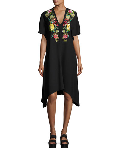 Floral-Embroidered Viscose Dress, Black Pattern