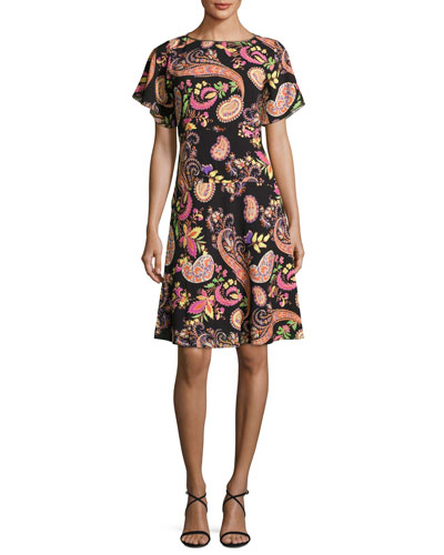Paisley-Print Short-Sleeve Dress, Black