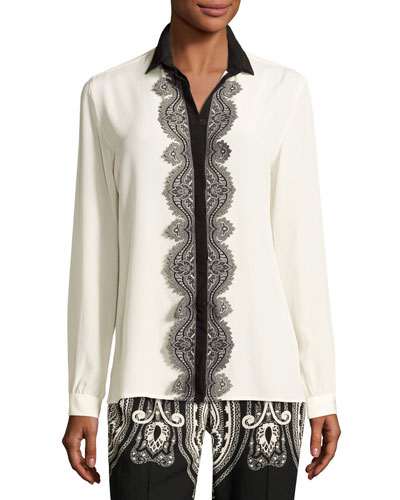 Paisley Lace-Trim Silk Blouse, White