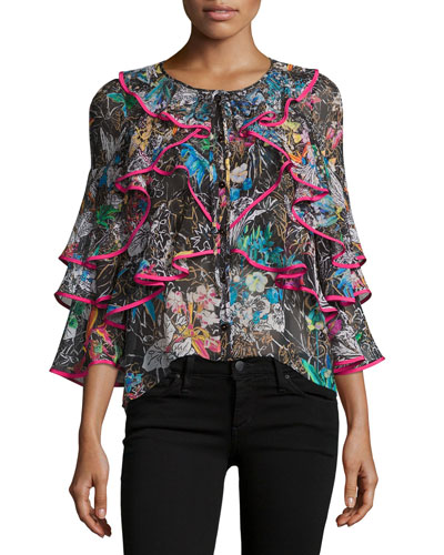 Tiered Frill-Sleeve Botanical-Print Blouse, Black