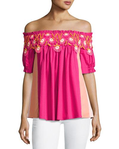 Paneled Off-the-Shoulder Lace-Trim Top, Pink