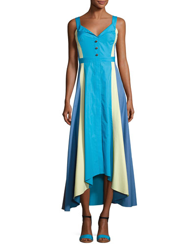 Paneled Cotton Midi Dress, Turquoise