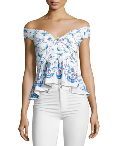 Printed Off-Shoulder Peplum Top, White Pattern
