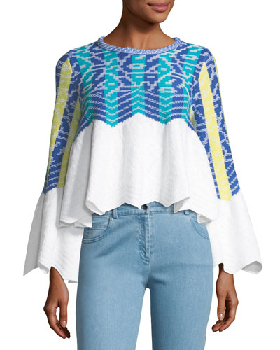 Knit Jacquard Bell-Sleeve Top
