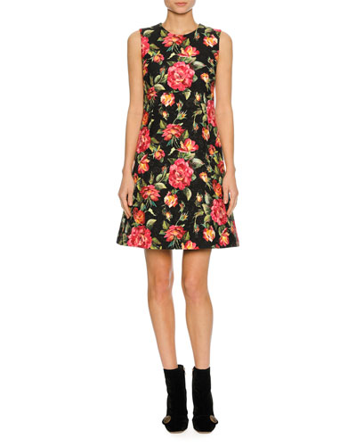 Sleeveless Macro Rose-Print Dress, Black Pattern