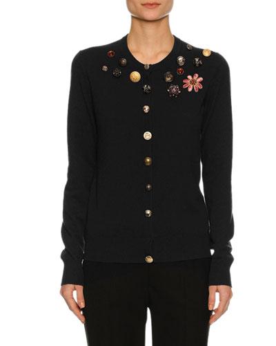 Button-Embellished Cashmere Cardigan