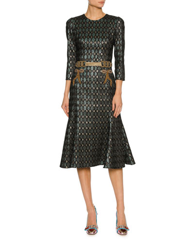 3/4-Sleeve Geometric Jacquard Cocktail Dress w/Embellished Waist