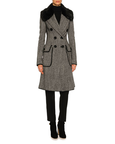 Double-Breasted Tweed Fur-Collar Coat, Gray
