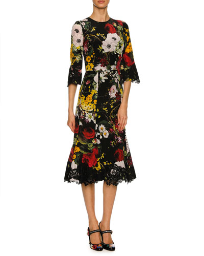 Bouquet-Print 1/2-Sleeve Cocktail Dress, Black Pattern