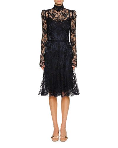 Floral Lace Mock-Neck Dress, Navy