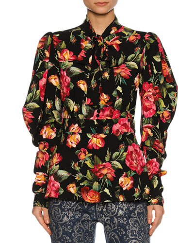 Rose-Print Cady Tie-Neck Blouse, Black