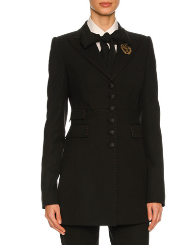 Virgin Wool Blazer with Crest, Black