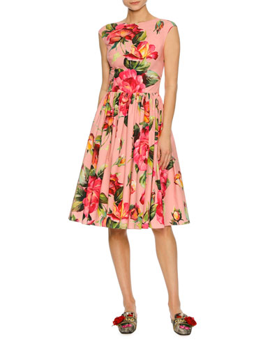 Cap-Sleeve Floral-Print Poplin Dress, Pink Pattern