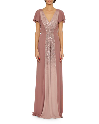 Sequined Jersey V-Neck Gown, Pink